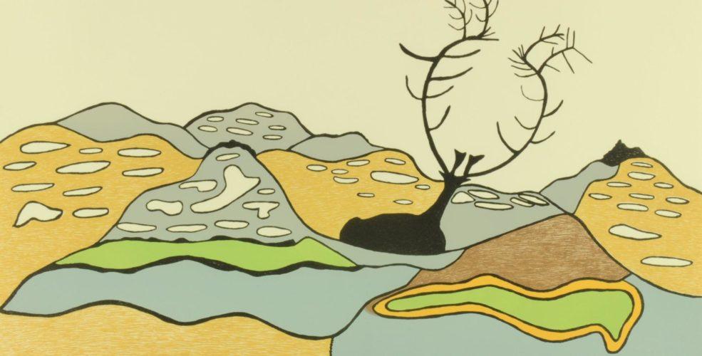 Padlo Pudlo Landscape With Caribou 1977 96 A 22 Lln